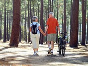 Senior couple in cycling helmets walking through wood with bicycles, holding hands, rear view