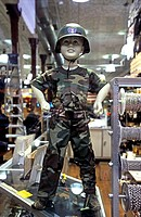 child soldier as display dummy