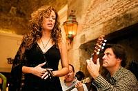 Fado Singer Ana Moura in Bacalhau de Molho restaurant. Lisbon. Portugal.