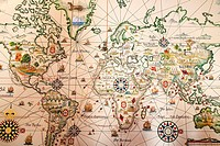 World map. Maritime Museum. Belem, Lisbon. Portugal.
