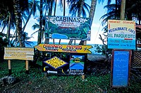 Costa Rica, Caribbean coast, Cahuita National Park, hotels and restaurants advertising