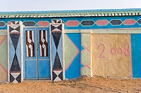 Sudan, Eastern Sahara, Soleib, painted walls