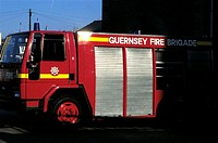 Channel Islands, Guernsey, Firemen truck