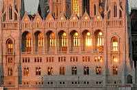 Hungary, Budapest, Parliament at sunset