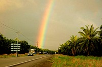 Costa Rica, road, rainbow