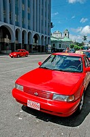 Costa Rica, San JosÚ, downtown, red cab