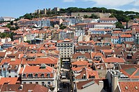 View over Lisbon with St. George's castle in background. Portugal