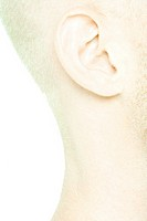 Young man's ear and neck, side view