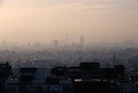View of city covered in smog