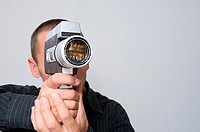 Man using cine camera