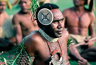 Solomon Islands. Poeple of Pacific dressed in traditional costume.