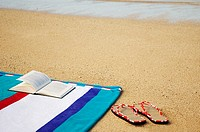 Book resting on striped beach towel on beach with red edged slippers