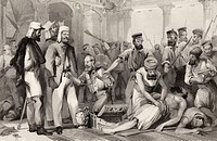The Times Correspondent looking on at the sacking of the Kaiser Bach after the capture of Lucknow March 15 1858  From The History of the Indian Mutiny...