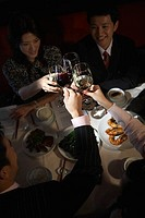 Businesspeople Toasting at Restaurant