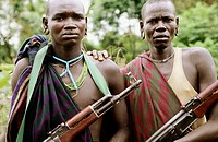 Two members of the Surma tribe stand with their AK47´s . The Surma people live along the Kibish river near the border of Sudan in the western part of ...