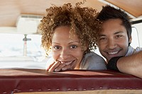 Couple inside a recreational vehicle
