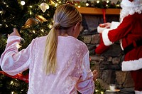 Girl watching Santa Claus