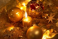 Christmas candles and Christmas ornaments