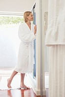 Woman preparing to take a shower