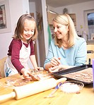 Mother, and, child, baking, cookies, /, biscuits,