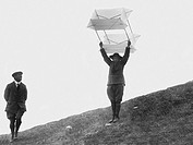 italy, the top of bisbino mountain, boy scout throwing the kite flying deer, 1910_20