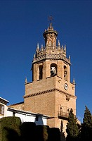 Church, Iglesia, de, Santa, Maria, Mayor, former, Mosque, 13th, century, bell, tower, Ronda, Andalusia, Spain, baroque,