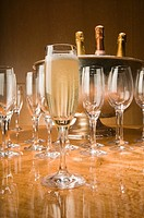 Glass of Champagne with glasses and champagne cooler in background