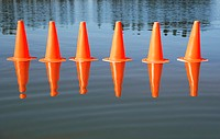 Traffic cones on water with trees