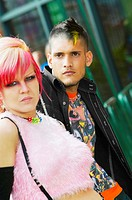 Close up of Hispanic punk couple outdoors