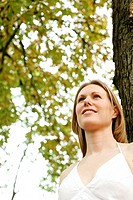 Woman smiling while looking away