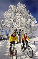 winter, biking
