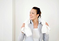 Woman with a towel around her neck