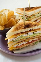 Club sandwiches with chicken breast, crisps