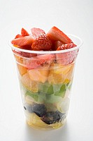 Fruit salad in a plastic cup (thumbnail)