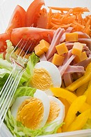 Mixed salad with ham and egg in plastic container (thumbnail)
