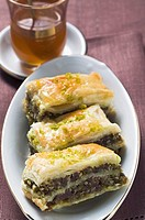 Baklava Filo pastry with honey &amp; pistachios, Turkey, mint tea