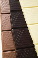 Pieces of three different chocolate bars close-up