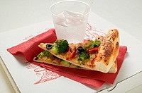 Two pieces of American-style vegetable pizza & mineral water (thumbnail)