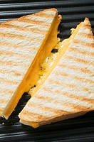 Toasted cheese sandwiches on grill plate
