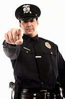 Male police officer pointing (thumbnail)