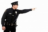 Male police officer pointing