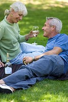 Senior couple drinking wine in park