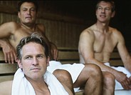 Men sitting in sauna