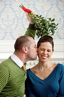 Couple kissing under mistletoe