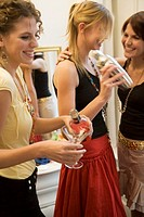 Young women mixing drinks with cocktail shaker