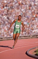 African male athlete running race