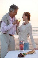 Mature couple toasting each other on the beach
