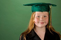 Young girl in graduation hat