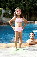 Young Hispanic girl in bikini