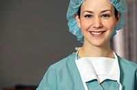 Female surgeon in hairnet